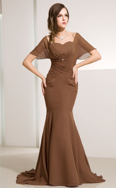Trumpet/Mermaid Off-the-Shoulder Sweep Train Chiffon Mother of the Bride Dress With Ruffle Beading (008014212)