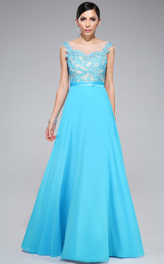 A-Line/Princess Scoop Neck Floor-Length Chiffon Tulle Charmeuse Prom Dress With Lace Beading (018046227)