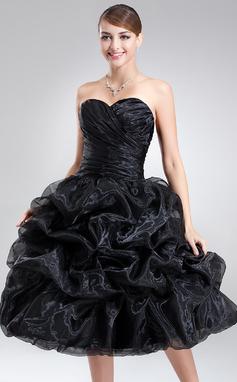 Vestidos princesa/ Formato A Coração Coquetel Organza de Vestido de boas vindas com Pregueado (022021295)