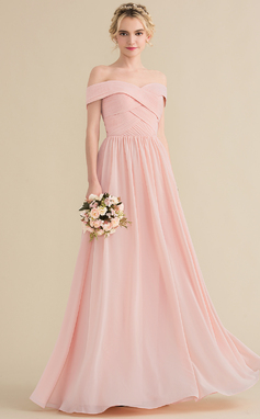 A-Line/Princess Off-the-Shoulder Floor-Length Chiffon Bridesmaid Dress With Ruffle (007144733)