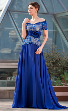 A-Line/Princess Off-the-Shoulder Sweep Train Chiffon Lace Mother of the Bride Dress With Ruffle Beading Flower(s) Sequins (008018956)