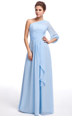 A-Line/Princess One-Shoulder Floor-Length Chiffon Bridesmaid Dress With Crystal Brooch Cascading Ruffles (007025345)