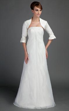 Vestidos princesa/ Formato A Sem Alças Trem da varredura Organza de Cetim Vestido de noiva com Pregueado (002015714)