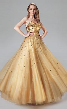 Платье для Балла возлюбленная Длина до пола Тюль Платье Для Выпускного Вечера с блестки (018004807)