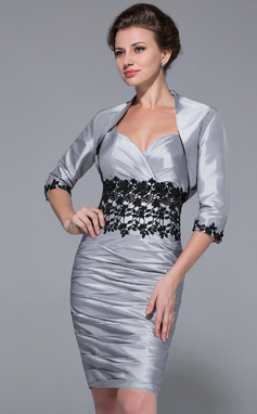 Sheath/Column Sweetheart Knee-Length Taffeta Mother of the Bride Dress With Ruffle Lace (008025764)