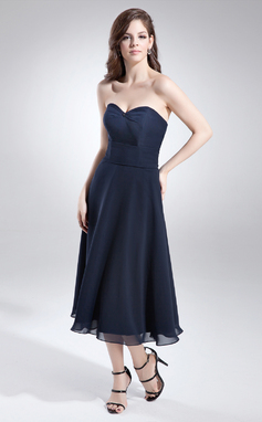A-Line/Princess Sweetheart Tea-Length Chiffon Bridesmaid Dress With Beading (007051874)