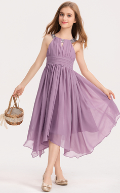 A-Line Scoop Neck Tea-Length Chiffon Junior Bridesmaid Dress With Ruffle Beading Bow(s) (009191710)