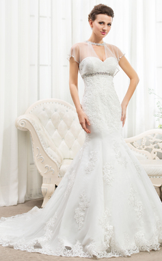 Trumpet/Mermaid Scoop Neck Cathedral Train Lace Wedding Dress With Ruffle Beading Appliques Lace Sequins (002056233)