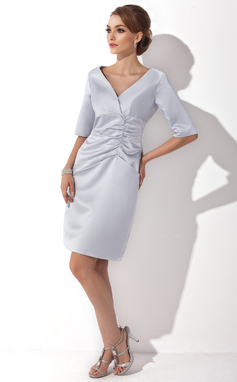 Sheath/Column V-neck Knee-Length Satin Mother of the Bride Dress With Ruffle (008005627)