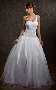 Ball-Gown Sweetheart Floor-Length Satin Organza Wedding Dress With Beading (002012169)
