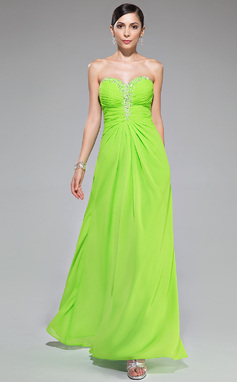 A-Line/Princess Sweetheart Floor-Length Chiffon Prom Dress With Ruffle Beading Sequins (018047258)