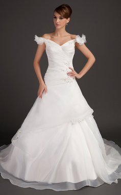 Ball-Gown Off-the-Shoulder Chapel Train Satin Organza Wedding Dress With Ruffle Beading Flower(s) Sequins (002015497)