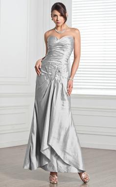 Платье-чехол В виде сердца Длина по щиколотку Тафта Вечерние Платье с Рябь Бисер (017005318)
