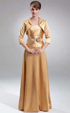 A-Line/Princess Strapless Floor-Length Charmeuse Mother of the Bride Dress With Ruffle Beading Flower(s) Sequins (008005709)