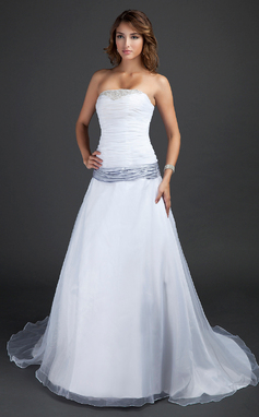 A-Line/Princess Strapless Court Train Organza Wedding Dress With Ruffle Sash Beading (002015380)
