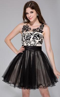 Vestidos princesa/ Formato A Decote redondo Curto/Mini Charmeuse Tule Vestido de boas vindas com Pregueado Renda (022027070)