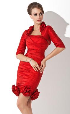 Sheath/Column Halter Knee-Length Taffeta Mother of the Bride Dress With Ruffle Flower(s) (008005644)