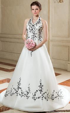 Трапеция/Принцесса С бретелью через шею Церемониальный шлейф Атлас Свадебные Платье с Вышито (002011700)