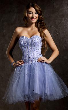 Vestidos princesa/ Formato A Coração Curto/Mini Tule Vestido de boas vindas com Bordado Lantejoulas (022008121)