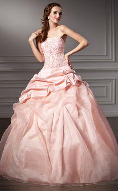 Платье для Балла Без лямок Длина до пола Тафта Органза Пышное платье с Рябь кружева Бисер (021003109)