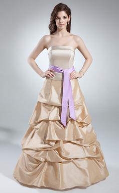Трапеция/Принцесса Без лямок Длина до пола Тафта Пышное платье с Рябь Лента (021016041)