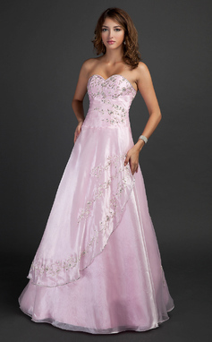 A-Line/Princess Sweetheart Floor-Length Organza Prom Dress With Embroidered Beading Sequins (018135355)