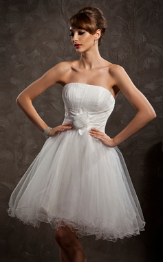 Vestidos princesa/ Formato A Sem Alças Coquetel Tule Vestido de boas vindas com Pregueado fecho de correr (022008126)