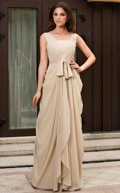 Vestidos princesa/ Formato A Decote V Sweep/Brush trem De chiffon Vestido de festa com Pregueado Renda Bordado (022027057)