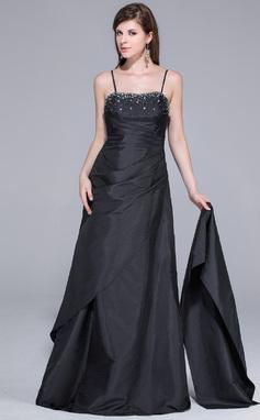 Vestidos princesa/ Formato A Coração Longos Tafetá Vestido de baile com Pregueado Bordado (008029104)