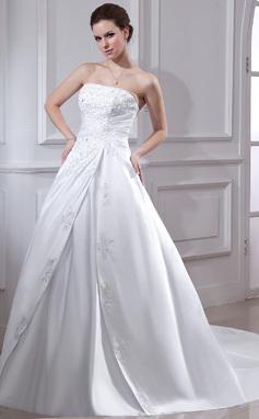 De baile Sem Alças Cauda longa Cetim Vestido de noiva com Pregueado Renda Bordado (002001593)