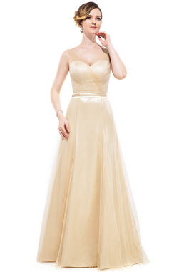 A-Line/Princess V-neck Floor-Length Charmeuse Bridesmaid Dress With Ruffle Bow(s) (007050067)
