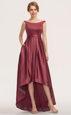 Трапеция Выкл-в-плечо асимметричный Атлас Платье Подружки Невесты (007190689)