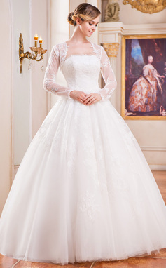 Ball-Gown Strapless Floor-Length Tulle Wedding Dress With Lace (002042295)