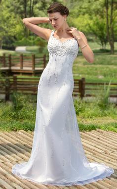 Раструб/Платье-русалка возлюбленная Церемониальный шлейф Атлас Органза Свадебные Платье с развальцовка блестки (002000384)
