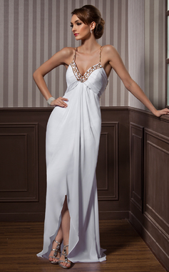 Etui-Linie Herzausschnitt Asymmetrisch Chiffon Abendkleid mit Perlen verziert (017021087)