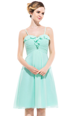 Empire Sweetheart Knee-Length Chiffon Bridesmaid Dress With Cascading Ruffles (007051417)
