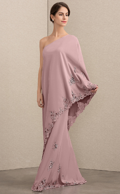 A-Linie/Princess-Linie Eine Schulter Bodenlang Strech-Krepp Kleid für die Brautmutter mit Spitze (008164057)