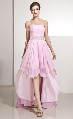 A-Line/Princess Sweetheart Asymmetrical Chiffon Holiday Dress With Beading Cascading Ruffles (020014207)