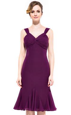 Sheath/Column V-neck Knee-Length Chiffon Bridesmaid Dress With Ruffle (007047376)