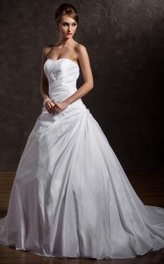 Ball-Gown Sweetheart Chapel Train Taffeta Wedding Dress With Ruffle Lace Beading Sequins (002012901)