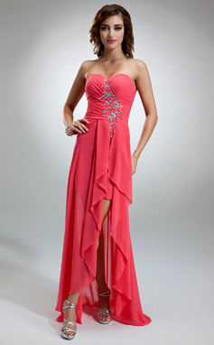 A-Line/Princess Sweetheart Asymmetrical Chiffon Holiday Dress With Beading Cascading Ruffles (020025943)