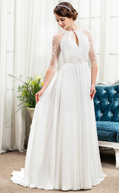 A-Line/Princess Scoop Neck Sweep Train Chiffon Wedding Dress With Ruffle Beading Sequins (002057489)