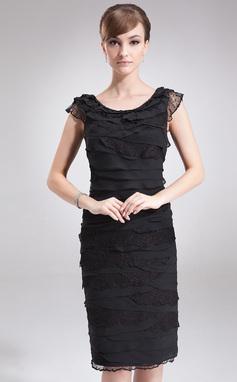 Tubo Decote redondo Coquetel De chiffon Vestido para a mãe da noiva com Renda (008006505)