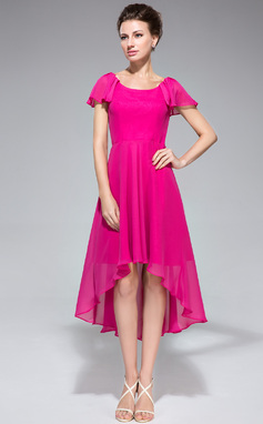 A-Line/Princess Scoop Neck Asymmetrical Chiffon Mother of the Bride Dress With Cascading Ruffles (020042831)