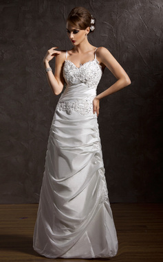 A-Line/Princess V-neck Floor-Length Taffeta Wedding Dress With Ruffle Lace (002001411)