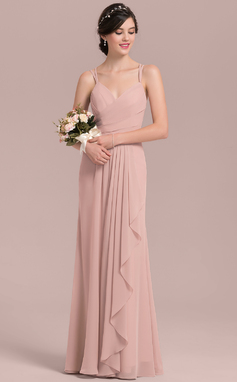 A-Line/Princess Sweetheart Floor-Length Chiffon Bridesmaid Dress With Cascading Ruffles (007126452)