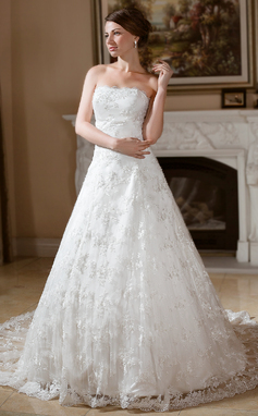 Платье для Балла Без лямок Церковный шлейф кружева Свадебные Платье с Бисер (002012133)