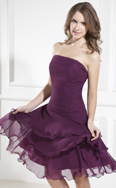 A-Line/Princess Strapless Knee-Length Chiffon Bridesmaid Dress With Cascading Ruffles (007036969)