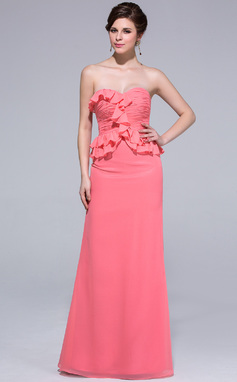 Sheath/Column Sweetheart Floor-Length Chiffon Bridesmaid Dress With Cascading Ruffles (007037165)