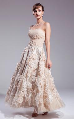Vestidos princesa/ Formato A Amada Longuete Tecido de seda Vestido de noiva com Pregueado Apliques de Renda fecho de correr lantejoulas (002012841)